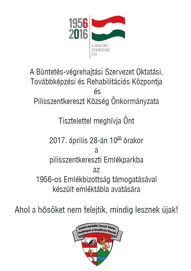 BV emléktábla meghívó