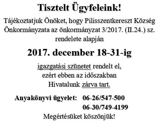 igazgatási szünet 2017 dec