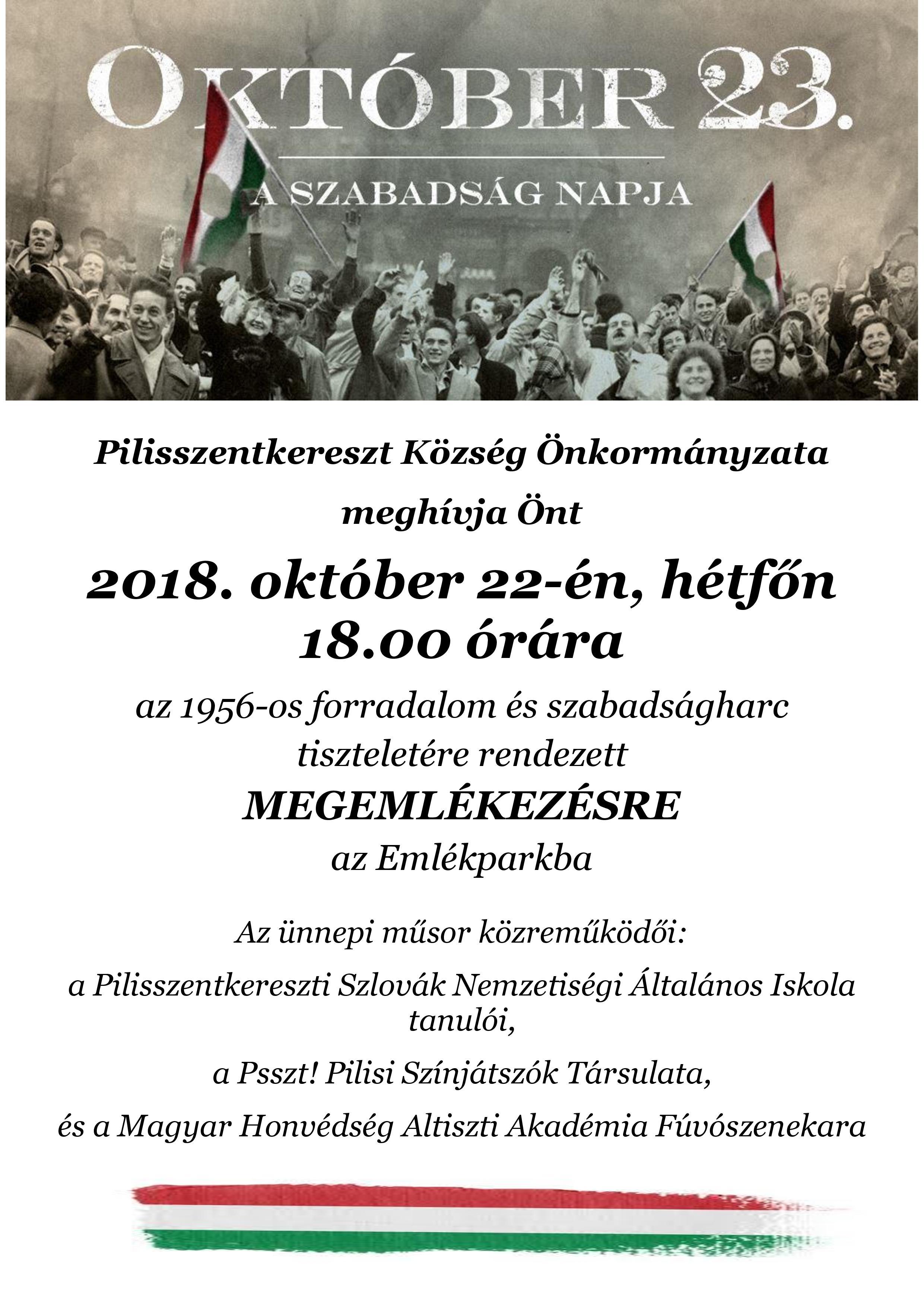 2018. október 22-i ünnepség plakát