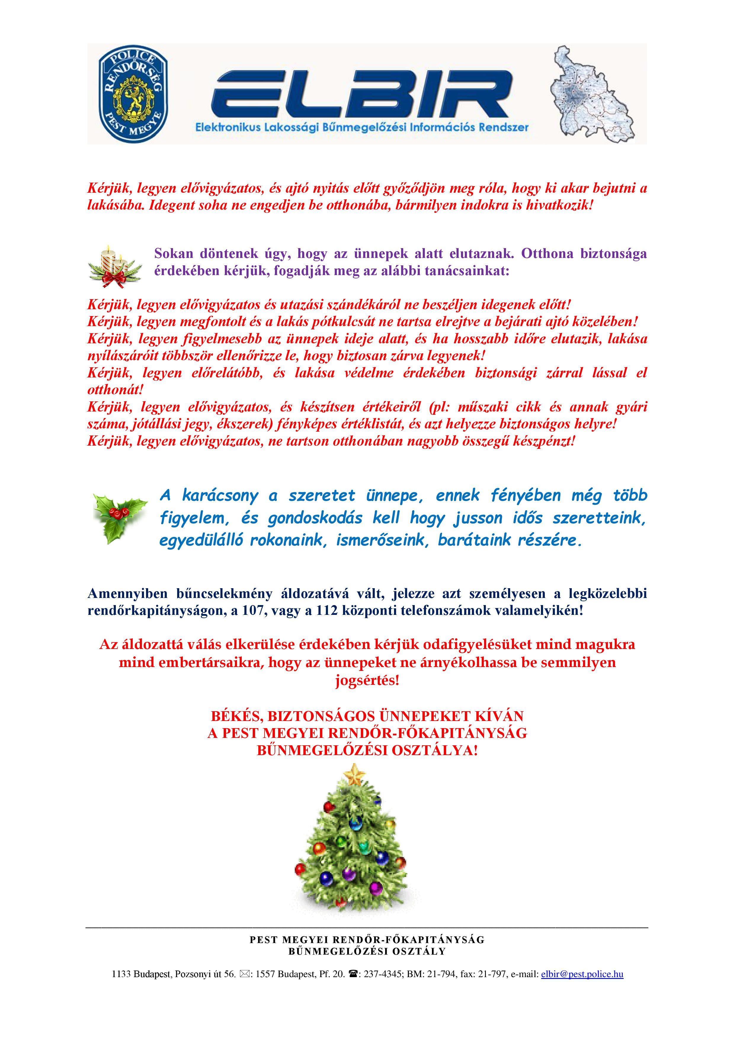 Advent biztonságáért tájékoztatás