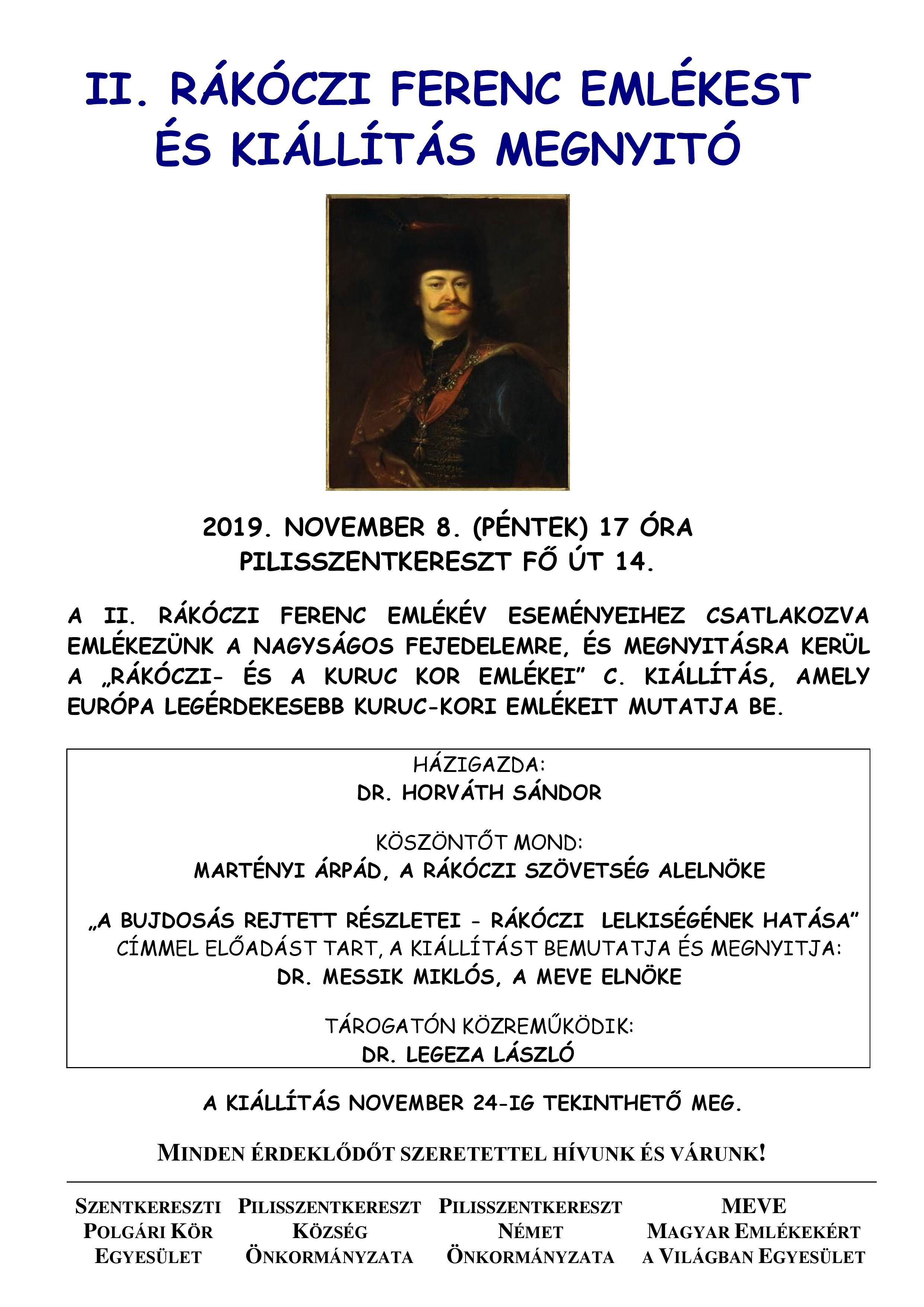 Meghívó Rákóczi Emlékestre