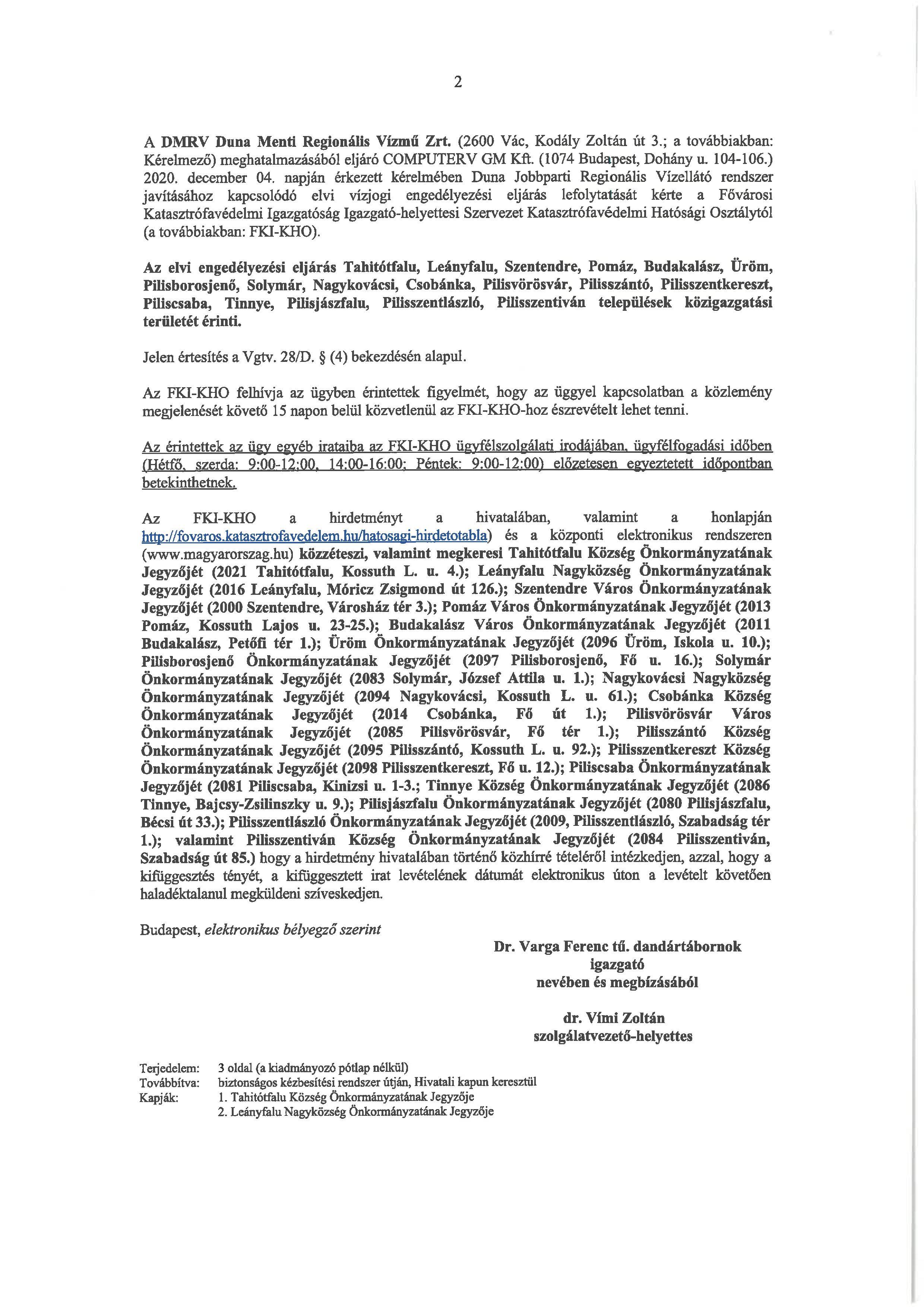 DMRV  vízjogi engedély 2